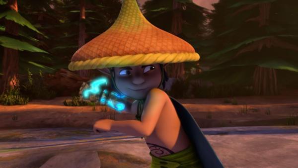 Roxors Blitzhandschuh hat gewaltige Kräfte. Der Elf kann damit sogar Felsen verdoppeln. | Rechte: BR/Studio 100 Animation/Studio 100 NV