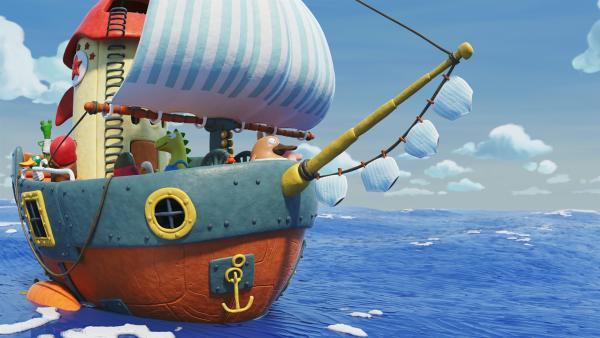 Nö-Nö und seine Freunde auf dem rettenden Schiff. | Rechte: hr/Autour de Minuit Productions
