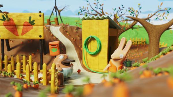 Nö-Nö trifft Bio in seinem Gemüsegarten.   Rechte: hr/Autour de Minuit Productions