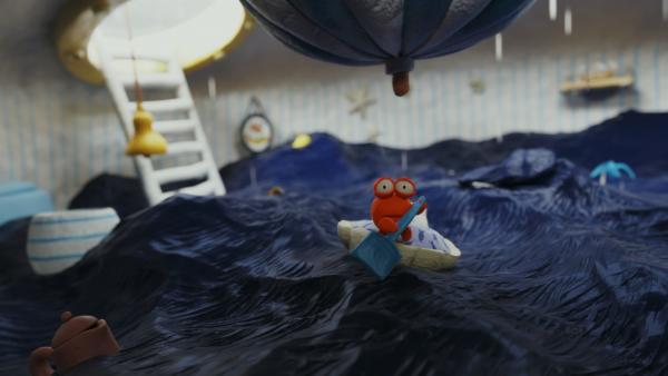 Nö-Nös Haus steht unter Wasser, die kleine Krabbe Karli versucht sich zu retten.   Rechte: hr/Autour de Minuit Productions