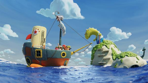 Das Schiff hat die rettende Insel von Opa Dino erreicht.   Rechte: hr/Autour de Minuit Productions