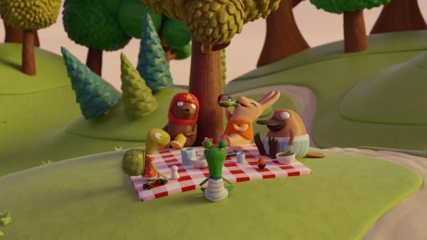 Beim Picknick: (v.l.n.r.) Marilu, Tüftel, Undine, Bio, Karli und Nö-Nö. | Rechte: hr/Miam/Autour de minuit