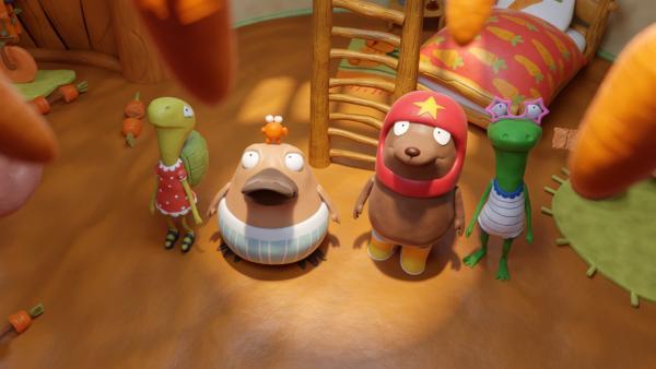 Begutachten die Decke: Marilu, Nö-Nö mit Karli, Tüftel und Undine.   Rechte: hr/Miam/Autour de minuit