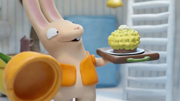 Bio zeigt seinen Kuchen. | Rechte: hr/Miam/Autour de minuit