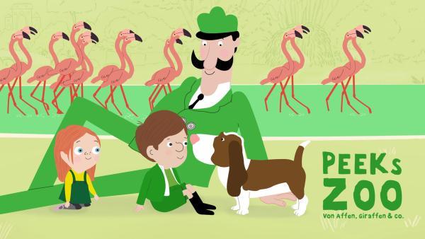 Zoodirektor Peek sitzt mit seinen Kindern Jimmy und Valerie und ihrem Hund Baxter auf der Wiese vor einem Teich mit einer Gruppe Flamingos darin.   Rechte: KiKA/2018 Igloo Productions Ltd.