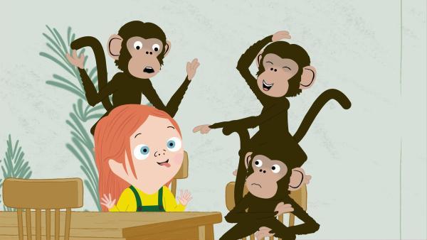 Die Affen sind richtig frech zu den Besuchern. Ein Kurs in gutem Benehmen steht für alle an. | Rechte: KiKA/Igloo Productions Ltd.