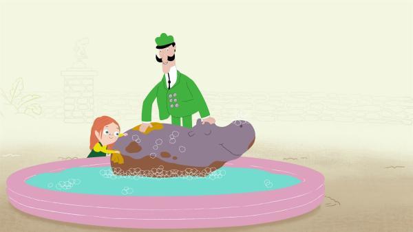 Die Bürgermeisterin macht ihre Sauberkeitsprüfung im Zoo, aber die Flusspferde werden einfach nicht sauber. | Rechte: KiKA/Igloo Productions Ltd.