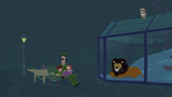 Eine schreiende Eule stört beim abendlichen Vorlesen für die Tiere. Wie können die Peeks die Eule zur Ruhe bringen? | Rechte: KiKA/Igloo Productions Ltd.