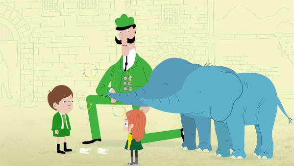 Jimmy hat einen Zahn verloren und ein Geschenk von der Zahnfee bekommen. Die Elefantenkinder Ella und Enzo möchten, dass die Zahnfee auch zu ihnen kommt. | Rechte: KiKA/Igloo Productions Ltd.
