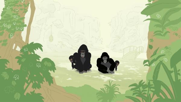 Die Gorillafamilie soll in ein artgerechteres Gehege umziehen. Doch die Gorillas lieben ihr altes zuhause und haben keine Lust auf einen Umzug. | Rechte: KiKA/Igloo Productions Ltd.
