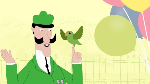 Valeries Luftballon ist davongeflogen und hängt in einem Baum. Mit immer neuen Einfällen versuchen Zoodirektor Peek, Jimmy und Valerie, an den Ballon heranzukommen. | Rechte: KiKA/Igloo Productions Ltd.