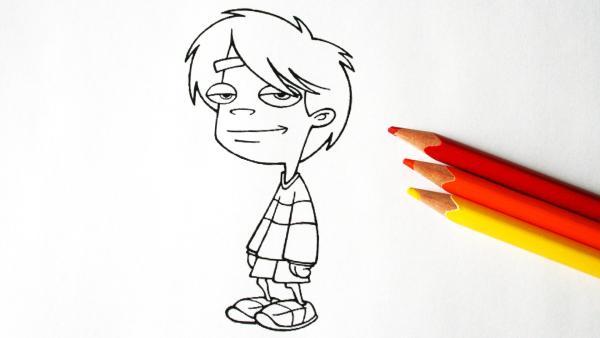 Ausmalbild von Pet Alien mit Stiften | Rechte: KiKA