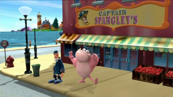 Gumpers vor Captain Spangley's | Rechte: KiKA/HR/Mike Young Prod.