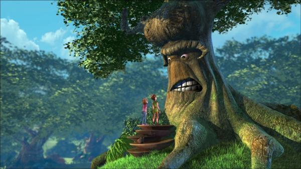 Peter fordert die Freilassung von John und Michael. Aber die Große Eiche, der Chef der Bäume, lässt sich von ihm nichts befehlen. | Rechte: ZDF/method Film/DQ Entertainment