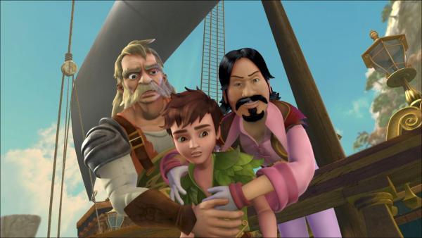 Zwei der Piraten schaffen es Peter zu ergreifen als dieser versucht Wendy, John und Michael zu befreien. | Rechte: ZDF/method Film/DQ Entertainment