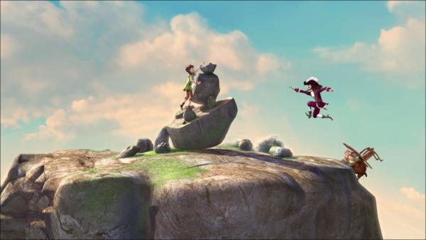 Peter hat den Wettlauf um den Stein gegen Hook und die anderen Piraten gewonnen.   Rechte: ZDF/method Film/DQ Entertainment