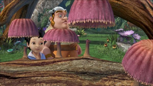 Der kleine Michael und der dicke Smee sind beide ausgerissen und treffen sich im Wald des Raunens.   Rechte: ZDF/method Film/DQ Entertainment