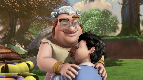 Der kleine Michael und der dicke Smee trösten sich gegenseitig so allein im Wald des Raunens. | Rechte: ZDF/method Film/DQ Entertainment