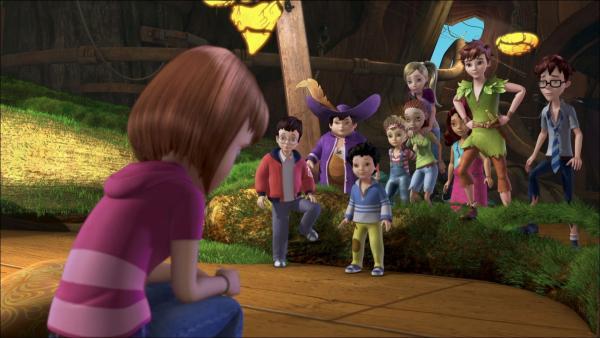Was ist bloß mit Wendy los? Sie steht betrübt herum und die Verlorenen Kinder meinen schon, sie wird erwachsen. | Rechte: ZDF/method Film/DQ Entertainment