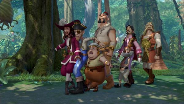 Captain Hook und seine Piraten sind ausnahmsweise mal nicht zu Wasser, sondern zu Fuß unterwegs.   Rechte: ZDF/method Film/DQ Entertainment