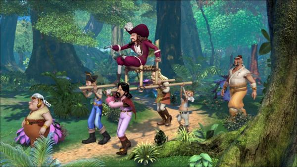Captain Hook lässt sich von seinen Piraten durch Nimmerland tragen.   Rechte: ZDF/method Film/DQ Entertainment