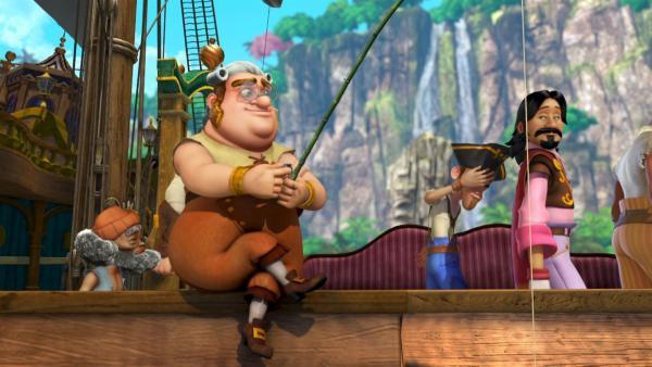 Smee und seine Piratenkumpane lungern herum.   Rechte: ZDF/method Film/DQ Entertainment