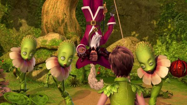 Peter Pan sucht im Geheimen Garten nach Wendy, findet dort aber zunächst nur Captain Hook inmitten der geschwätzigen Blumen. | Rechte: ZDF/method Film/DQ Entertainment