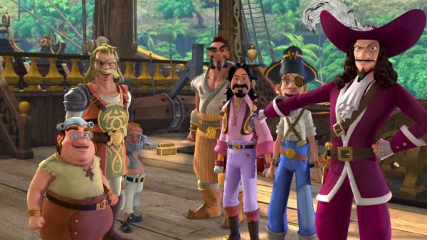 Captain Hook und seine Piratentruppe planen eine Schatzsuche. | Rechte: ZDF/method Film/DQ Entertainment
