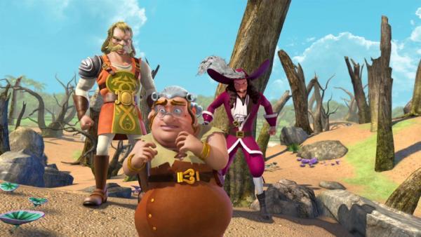 Captain Hook, Smee und Asbjörn sind gemeinsam auf Schatzsuche. | Rechte: ZDF/method Film/DQ Entertainment