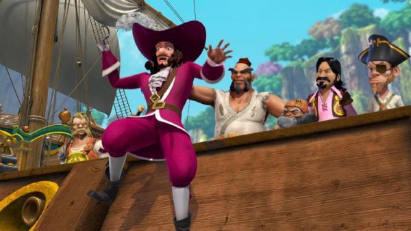 Captain Hook und seine Piraten schrecken vor einem Geist zurück. | Rechte: ZDF/method Film/DQ Entertainment