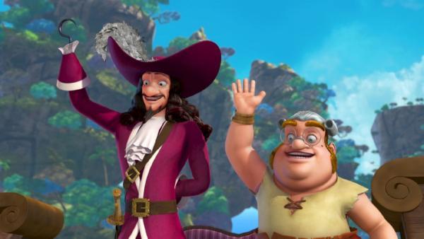 Captain Hook und Smee grüßen einen Neuankömmling. | Rechte: ZDF/method Film/DQ Entertainment