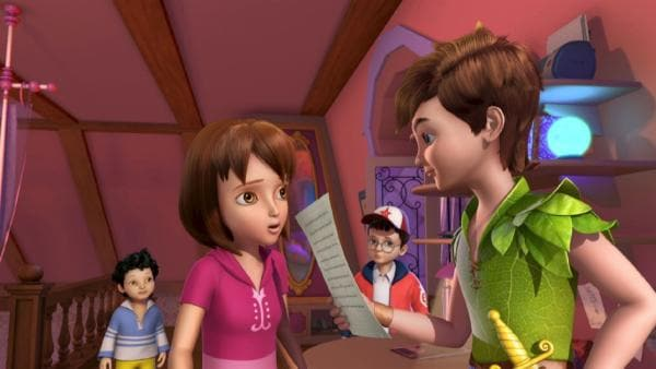 Peter Pan liest, was Wendy ihm gegen hat. John und Michael hören zu. | Rechte: ZDF/method Film/DQ Entertainment