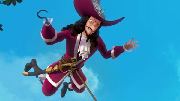 Captain Hook hat etwas Feenstaub abbekommen, der ihm die Fähigkeit zu fliegen verleiht.   Rechte: ZDF/method Film/DQ Entertainment