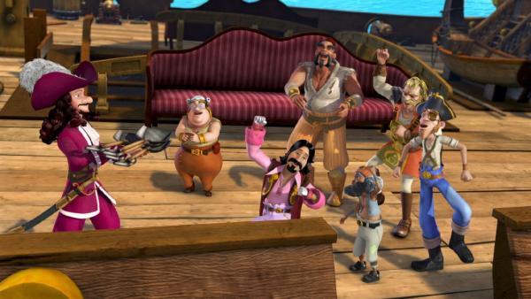 Captain Hook und seine Mannschaft hecken ean Deck der Jolly Roger neue fiese Pläne aus. | Rechte: ZDF/method Film/DQ Entertainment