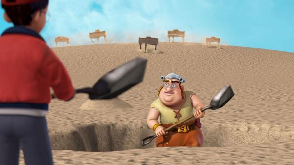 Smee und John graben auf Nimmerland nach einem Schatz. | Rechte: ZDF/method Film/DQ Entertainment
