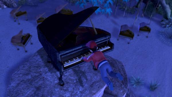 John spielt auf einem Flügel, der in Wirklichkeit ein Tier ist. | Rechte: ZDF/method Film/DQ Entertainment