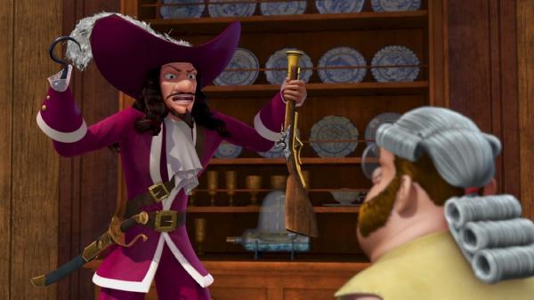 Captain Hook und sein Assistent Smee wollen ausnahmsweise einmal Peter Pan helfen. | Rechte: ZDF/method Film/DQ Entertainment