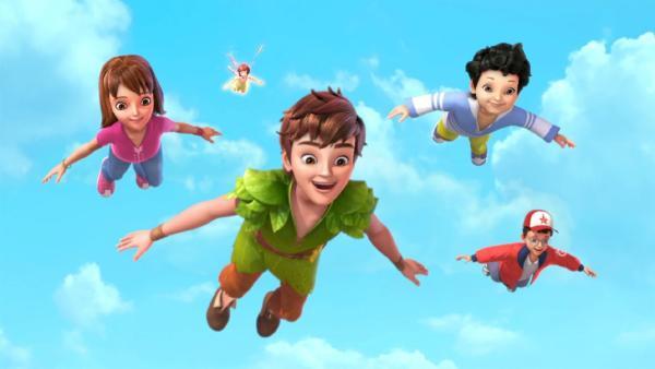 Peter Pan, Tinker Bell und die Darling-Kinder sind im Flug auf dem Weg nach Nimmerland. | Rechte: ZDF/method Film/DQ Entertainment