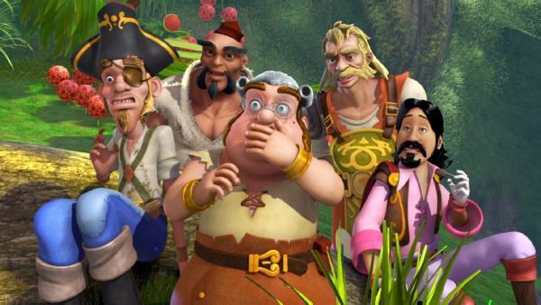 Smee (Mitte) und seine Piratenkollegen sind entsetzt über die Wirkung des Pulvers, das Jaro zusammengerührt hat.   Rechte: ZDF/method Film/DQ Entertainment