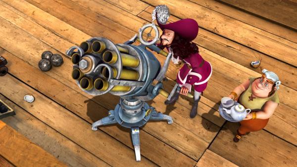 Captain Hook will Peter Pan in der Luft abschießen, um an den Magischen Sextanten zu kommen. | Rechte: ZDF/DQ Entertainment