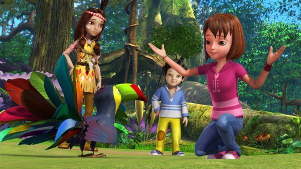 Lily, die kleine Indianerin, muss nacheinander sieben Diamanten finden. Wendy und Michael begleiten sie. Doch immer wenn sie zum Versteck kommen, ist der Diamant bereits weg. Wendy hat den Verdacht, dass der Tukan etwas mit dem Verschwinden der Steine zu tun haben könnte. | Rechte: ZDF/DQ Entertainment