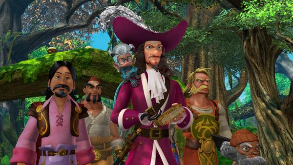Johns freches Totemtier, das Marmoset-Äffchen, hat Johns Brille und das Große Buch geklaut und sich mit Captain Hook zusammengetan. Captain Hook will die Siebenmeilenstiefel finden, die in dem Buch beschrieben sind.   Rechte: ZDF/DQ Entertainment