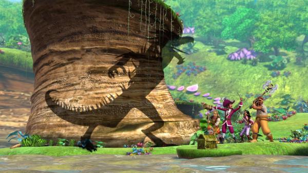 Der Schatten von Megatrezila, dem Wächter der Quelle,  greift Hook und seine Piraten an. Diese machen sich kampfbereit und warten auf den Befehl von Hook.   Rechte: ZDF/DQ Entertainment