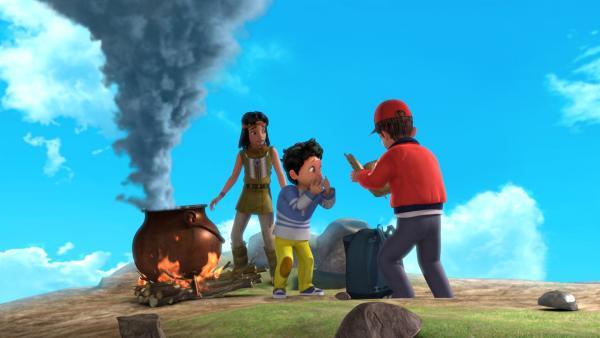 Oh Nein! Michael (Mitte) wollte Beaver Bob und seinem Bruder John helfen. Doch beim Brauen des Mut-Trankes macht er etwas falsch. | Rechte: ZDF/DQ Entertainment
