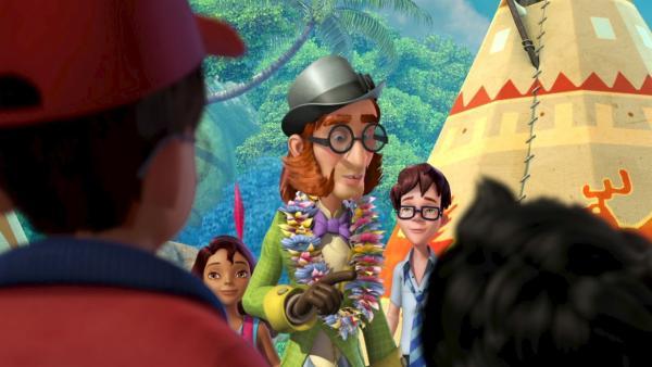 Mr. Ploof, der Nachbar der Darling-Kinder, erzählt den Kindern er sei der Held seines Lieblingsbuches, der Pirat Plick. | Rechte: ZDF/DQ Entertainment