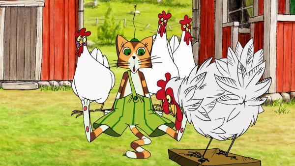 Fertig ist das Huhn-Attrappe vollgefüllt mit Pfeffer - Findus ist begeistert wie echt sie aussieht, nur die Hühner schauen skeptisch.   Rechte: ZDF/TV-Loonland