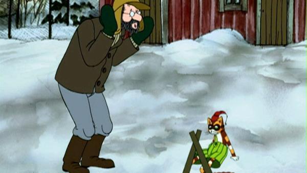 Pettersson und Findus haben Spaß im Schnee. | Rechte: ZDF/TV-Loonland