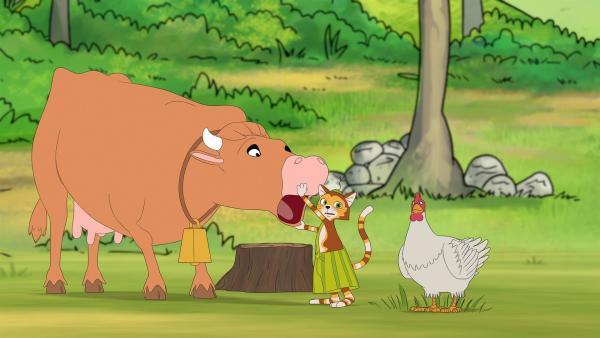 Findus hat Petterssons Mundharmonika nur ganz kurz aus den Augen gelassen – und jetzt ist sie weg! Ob die Kuh von Beda Anderson sie gefressen hat? | Rechte: ZDF/Edel SE