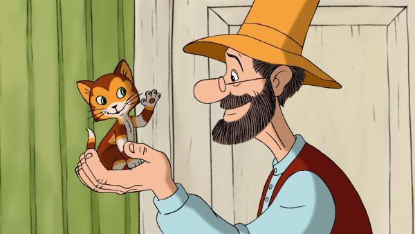 Pettersson freut sich über seinen neuen Mitbewohner - den kleinen Kater Findus! | Rechte: ZDF/TV Loonland