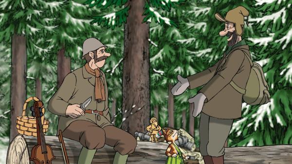 Zu Petterssons großer Freude bietet sich der Waldhüter an, die Weihnachtsmannfiguren zu schnitzen. | Rechte: ZDF/Anders Sörensen